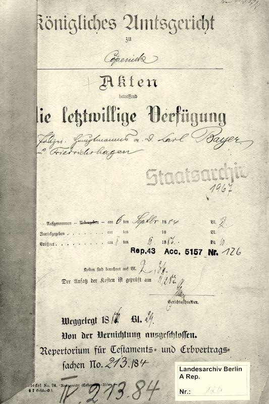Testament - Vermächtnis des Friedrichshagener Polizeihauptmann a. D. Carl Bayer / Titelblatt