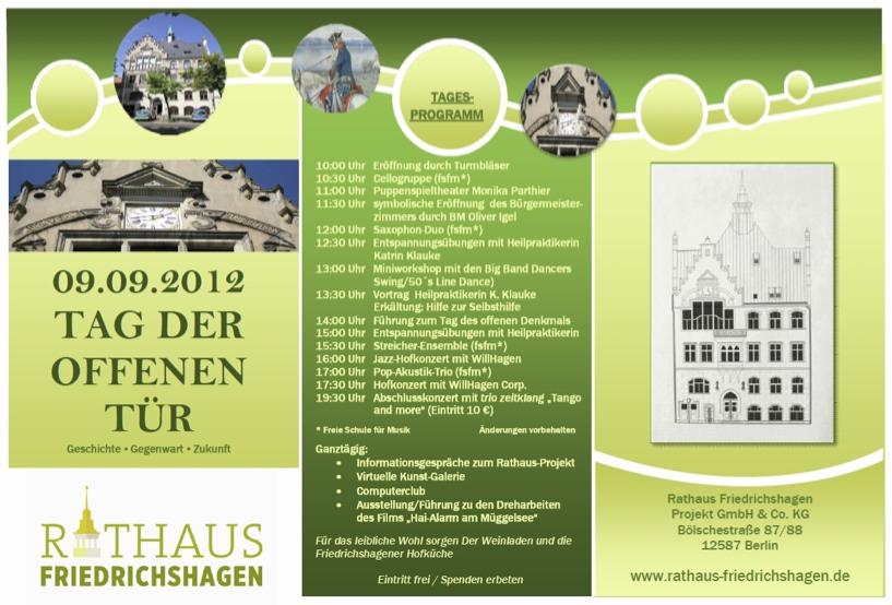 09.09.2012 Tag Der Offenen Tür   Rathaus Friedrichshagen, Einladung