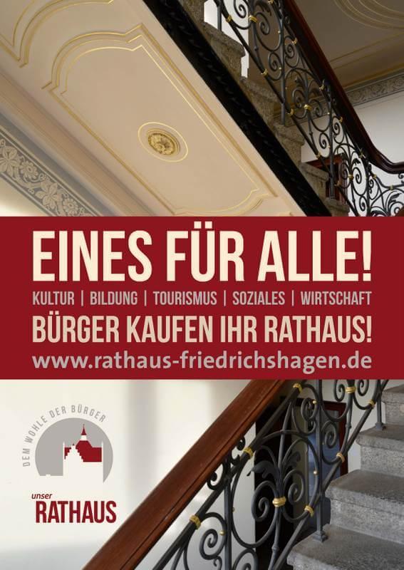 """Plakat """"Bürger kaufen ihr Rathaus"""" / Rathaus Friedrichshagen"""