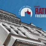 Historisches Rathaus Friedrichshagen Frontansicht und Logo
