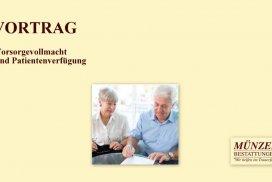 19 Uhr: Vortrag Vorsorgevollmacht und Patientenverfügung